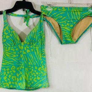 Victoria's Secret Aqua with Yellow Print Swimsuit